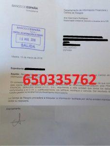 cancelación deudas cirbe banco españa psa financial service