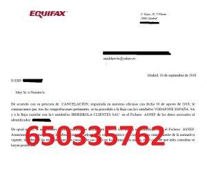 cancelación deudas vodafone iberdrola asnef equifax