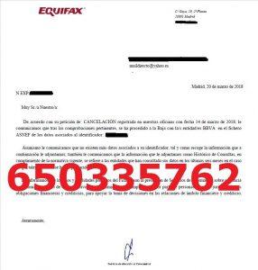 cancelación deudas bbva asnef equifax