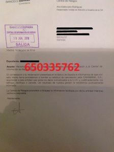 CANCELACIÓN CIRBE CAIXABANK BANCO ESPAÑA