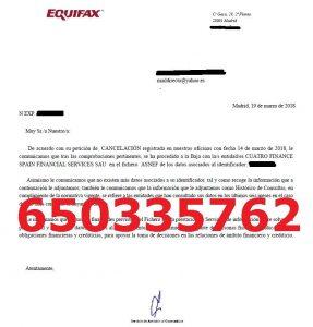 cancelación deudas cuatro finance asnef equifax
